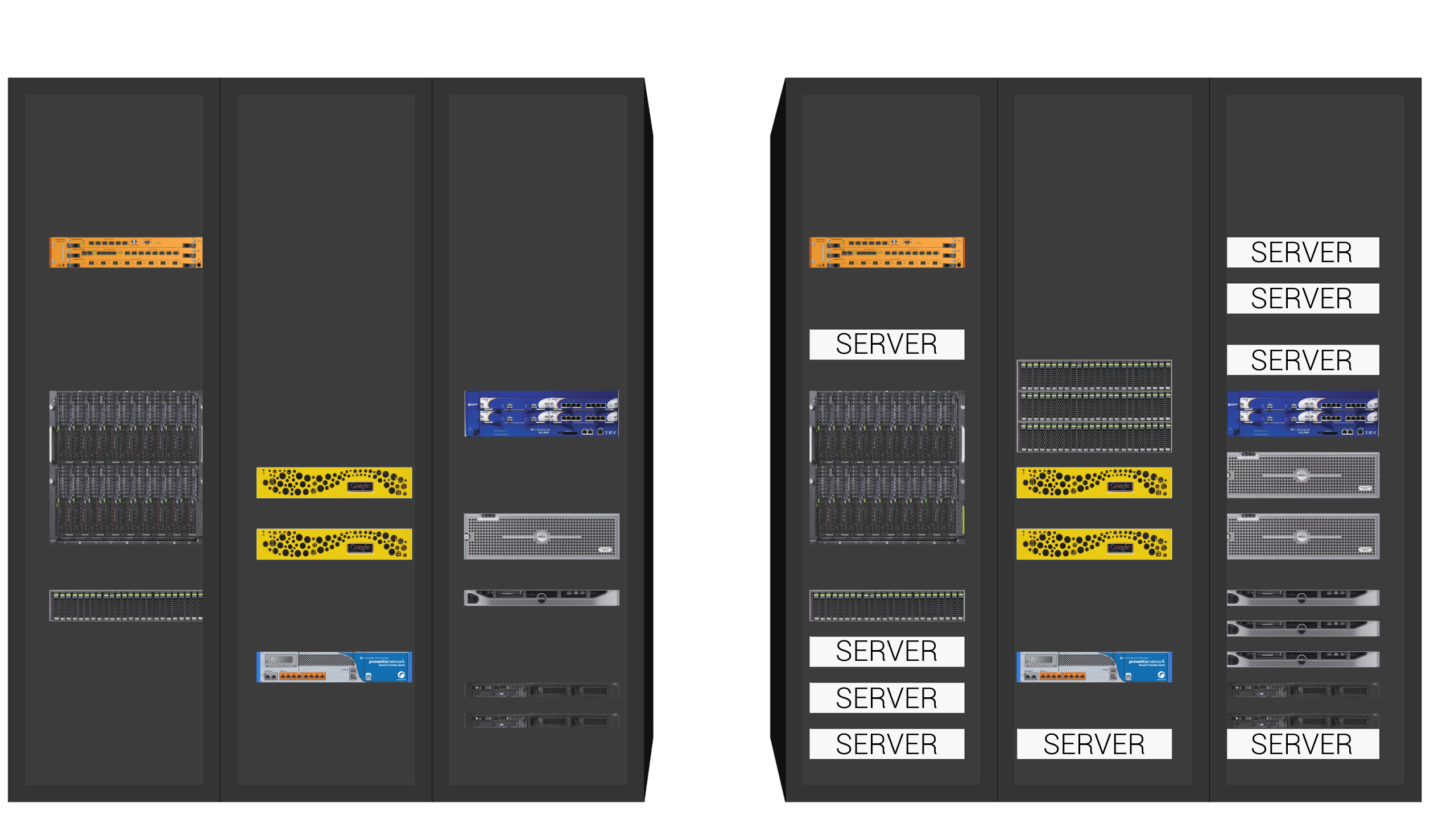 In this example, the partially-loaded racks in the model (left) are filled with additional vendor-specific equipment models and generic conceptual servers (shown in white), to reach the racks' design capacities (right).